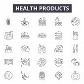 Health Products Line Icons, Signs Set, Vector. Health Products Outline Concept, Illustration: Health poster