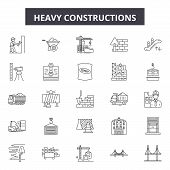 Heavy Constructions Line Icons, Signs Set, Vector. Heavy Constructions Outline Concept, Illustration poster