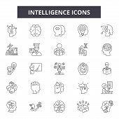Intelligence System Line Icons, Signs Set, Vector. Intelligence System Outline Concept, Illustration poster