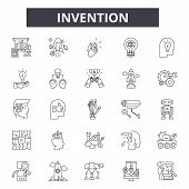 Invention Line Icons, Signs Set, Vector. Invention Outline Concept, Illustration: Invention, Innovat poster