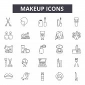 Makeup Line Icons, Signs Set, Vector. Makeup Outline Concept, Illustration: Makeup, Beauty, Lipstick poster