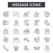 Message Line Icons, Signs Set, Vector. Message Outline Concept, Illustration: Message, Communication poster