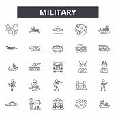 Military Line Icons, Signs Set, Vector. Military Outline Concept, Illustration: Military, Army, War, poster