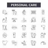 Personal Care Line Icons, Signs Set, Vector. Personal Care Outline Concept, Illustration: Care, Pers poster