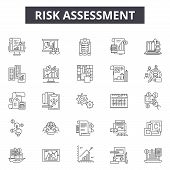 Risk Assessment Line Icons, Signs Set, Vector. Risk Assessment Outline Concept, Illustration: Risk,  poster