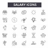 Salary Line Icons, Signs Set, Vector. Salary Outline Concept, Illustration: Payment, Money, Salary,  poster