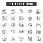 Sales Training Line Icons, Signs Set, Vector. Sales Training Outline Concept, Illustration: Business poster