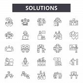 Solutions Line Icons, Signs Set, Vector. Solutions Outline Concept, Illustration: Solution, Idea, Bu poster