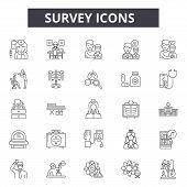 Survey Line Icons, Signs Set, Vector. Survey Outline Concept, Illustration: Survey, Business, Feedba poster