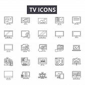 Tv Line Icons, Signs Set, Vector. Tv Outline Concept, Illustration: Tv, Television, Screen, Technolo poster