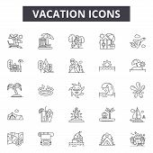 Vacation Line Icons, Signs Set, Vector. Vacation Outline Concept, Illustration: Beach, Sun, Travel,  poster