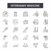 Veterinary Medicine Line Icons, Signs Set, Vector. Veterinary Medicine Outline Concept, Illustration poster