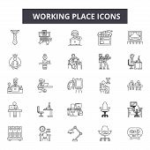 Working Place Line Icons, Signs Set, Vector. Working Place Outline Concept, Illustration: Work, Offi poster