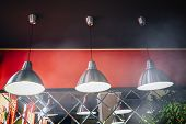 Ceiling Pendant Lights In The Cafe. Lamp On The Ceiling In Cafe. poster