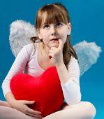 girl angel Valentine's day retro