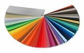 foto of color wheel  - Color guide spectrum swatch samples rainbow on white background - JPG
