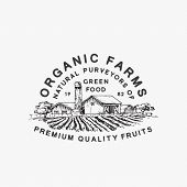 Organic Farms Green Food. Abstract Vector Sign, Symbol Or Logo Template. Farm Landscape Drawing Sket poster