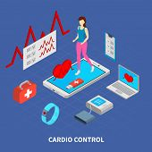 Mobile Medicine Composition With Cardio Control  Symbols Isometric Vector Illustration poster
