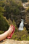 Girls Foot Over Waterfall