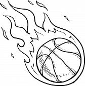 Flaming basketball sketch