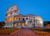 Colosseum or colosseo at dusk Rome Italy