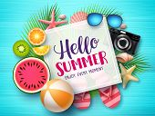 Hello Summer Vector Banner Template. Hello Summer Text In White Space Boarder With Colorful Beach El poster