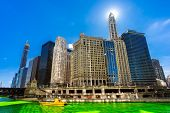 Chicago Skylines building along green dyeing river of Chicago River on St. Patricks day festival in poster