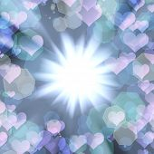 abstract background of glowing hearts with the flash in the center poster