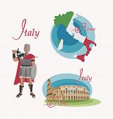 Map Of Italy. Rome. Coliseum. Gladiator. Set. Invitation To Travel To Italy. Roman Warrior Character poster
