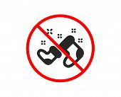 No Or Stop. Santa Boots Icon. Christmas Or New Year Sign. Claus Symbol. Prohibited Ban Stop Symbol.  poster
