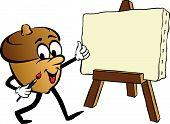 Cartoon Of Animated Acorn Painting On Easel