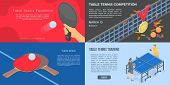 Playing Table Tennis Banner Set. Isometric Set Of Playing Table Tennis Vector Banner For Web Design poster