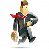 Businessman in trouble. Vector illustration of a businessman running in panic