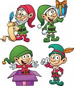 Christmas elves. Vector clip art illustration with simple gradients. All in a single layer.
