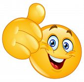 stock photo of emoticon  - Emoticon showing thumb up - JPG