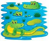 picture of crocodilian  - Image with crocodile theme 1  - JPG