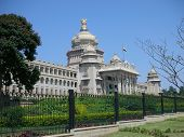 image of vidhana soudha  - A view of the famous Vidhana Soudha the Legislature and Secretariat building in Bangalore city Karnataka State India - JPG