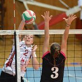 KAPOSVAR, HUNGARY - OCTOBER 14: Zsanett Pinter (R) in action at the Hungarian I. League volleyball g