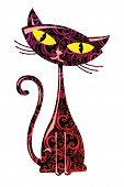 foto of black cat  - Vector illustration of floral color cute cat - JPG