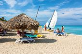 VARADERO,CUBA-NOVEMBER 3:Tourists enjoying the beach November 3,2012 in Varadero.With 50 hotels and