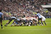 TWICKENHAM LONDON - NOVEMBER 10: English players in scrum with Fijian Team kick at England vs Fiji,