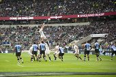 TWICKENHAM LONDON - NOVEMBER 10: Tom Palmer catches the lineout ball at England vs Fiji, England pla