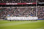 TWICKENHAM LONDON - NOVEMBER 10: English players line up to watch the Haka  at England vs Fiji, Engl