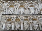 pic of poitiers  - Carved statues on the exterior of Notre Dame Cathedral in Poitiers France - JPG