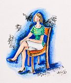 Woman sitting on a chair, watercolor with slate-pencil painting