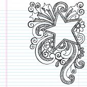 Star Frame Border Back to School Sketchy Notebook Doodles- Vector Illustration Design on Lined Sketc