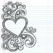 Heart Frame Border Back to School Sketchy Notebook Doodles- Vector Illustration Design on Lined Sketchbook Paper Background