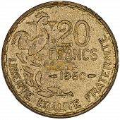 stock photo of liberte  - French 20 Francs Gold Coin Showing a Rooster and the words Liberte Egalite Fraternite Isolated - JPG