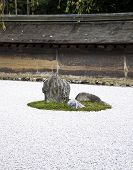 Detail From A Rock Garden At The Ryoan-ji Temple, Kyoto, Japan.