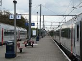 Railway Station With Two Trains